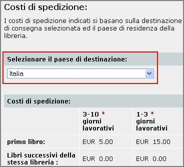 Costi di spedizione