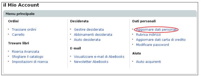 Modificare indirizzo mail