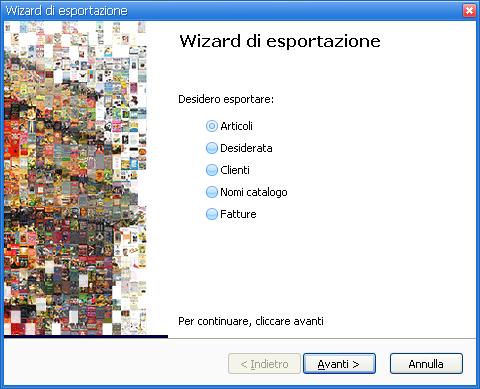 Wizard di esportazione