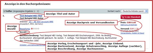 Beispiel Online-Anzeige Titel aus HB3 - Anzeige in den Suchergebnissen