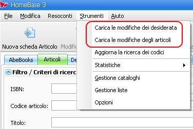 Invio aggiornamenti_menu Opzioni