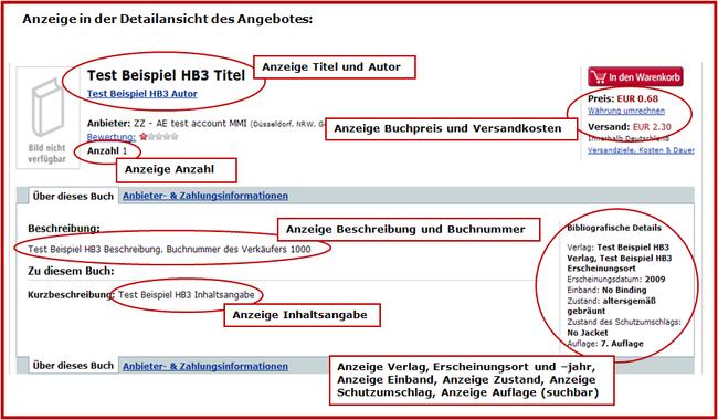 Beispiel Online-Anzeige Titel aus HB3 - Anzeige in der Detailansicht des Angebotes