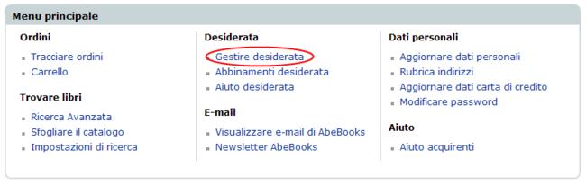 Gestire desiderata_menu principale