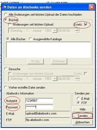 HomeBase 2.3 Hilfe – So können Sie Ihren HomeBase 2.3 Buchbestand mit dem AbeBooks Onlinebestand aktualisieren - B1