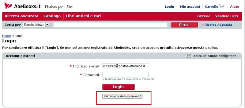 Screenshot hai dimenticato la password