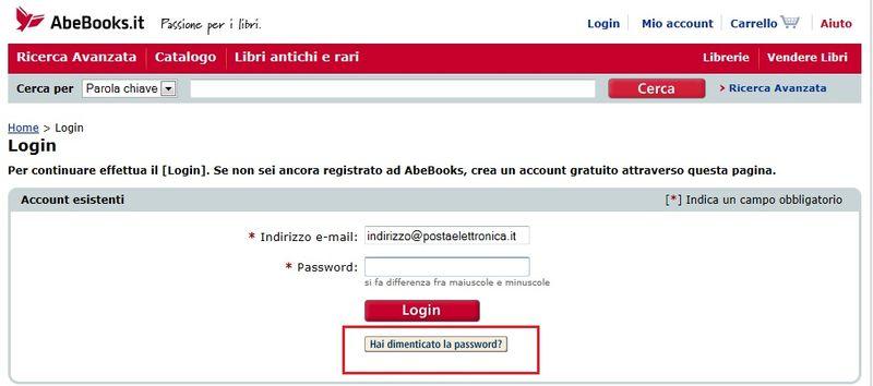 Screenshot hai dimenticato la password